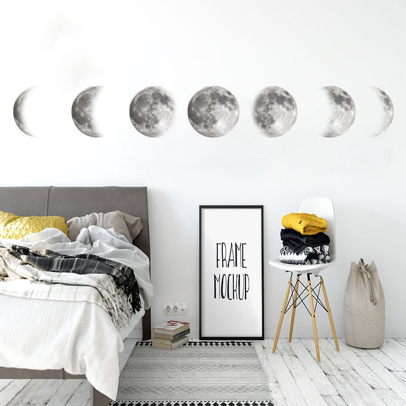 New wall sticker original color moon phase picture space moon wall sticker home decoration DIY decorative creative sticker