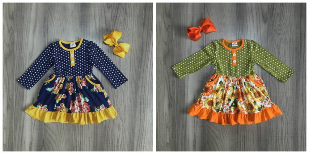 fall/winter baby girls clothes children mustard orange navy flower dress milk silk cotton ruffle boutique match bow knee length-in Clothing Sets from Mother & Kids