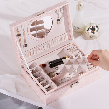 Double Decker Fashion Jewelry Box Large Roomy Jewellery Box PU Leather Bracelet Storage Stud Earring Display Necklace Ring Case 2 layer jewellery case fashion flannelette jewelry box desk storage box trinket box best gift for girlfriend