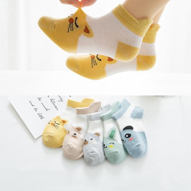5Pairs/lot2-9Y Baby Socks Summer Cotton Animal Cartoon Kids Socks Girls Mesh Cute Newborn Boys Toddler Socks Baby 1