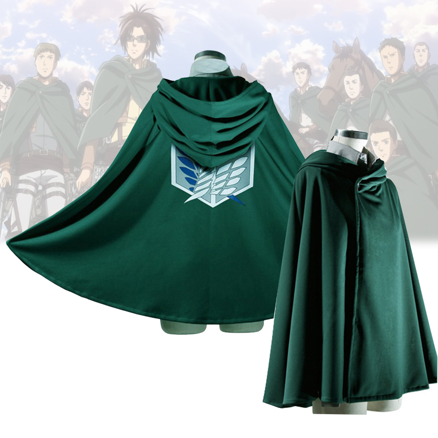 Anime Attack on Titan Cloak Cosplay Costumes Shingeki no Kyojin Green Cape Hoodie Cloaks Halloween Costume Kids Adult Clothes