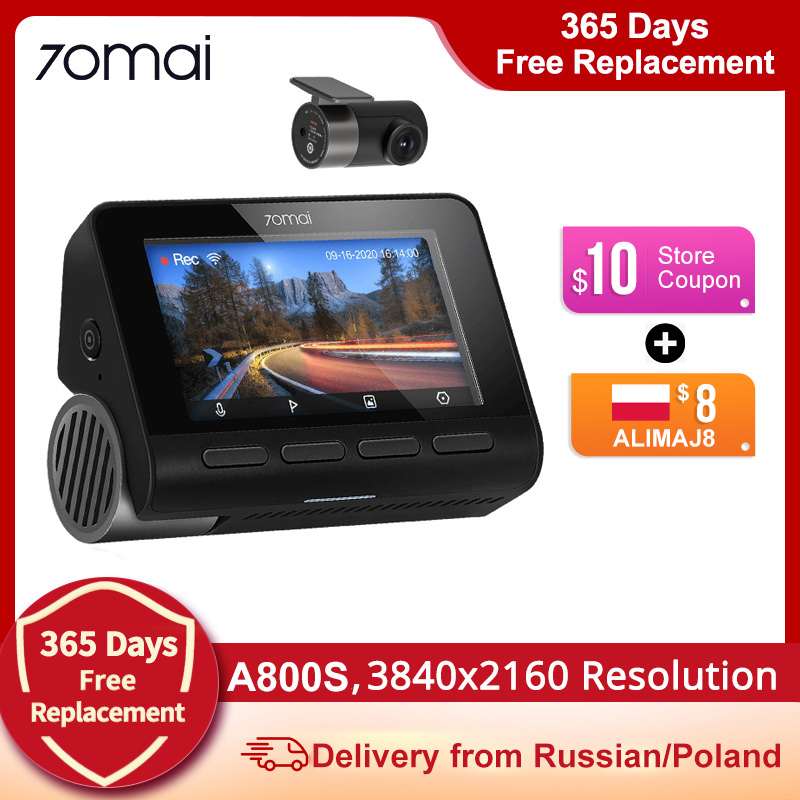 70mai A800S 4K Dash Cam 3840X2160 Resolution 4K Dash Camera Support GPS, Rear Camera Dual Vision, WiFi,A800 upgrade version