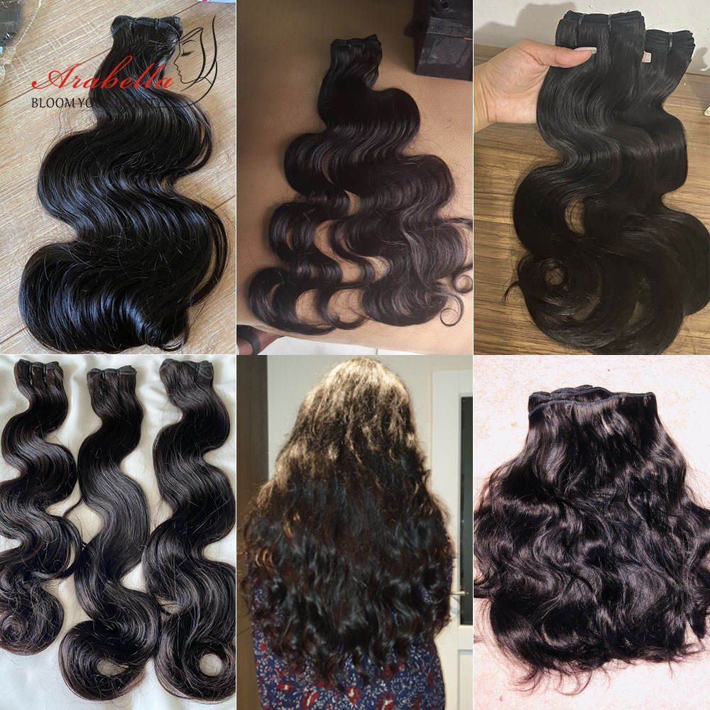 Super Double Drawn Body Wave Hair Bundles With Transparent Lace Closure 100%  3 Bundles Virgin Hair  Arabella 6