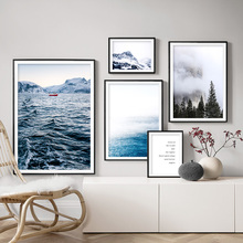 Snow Mountain Forest Sea Quotes Wall Art Canvas Painting Nordic Posters And Prints Landscape Wall Pictures For Living Room Decor цена и фото