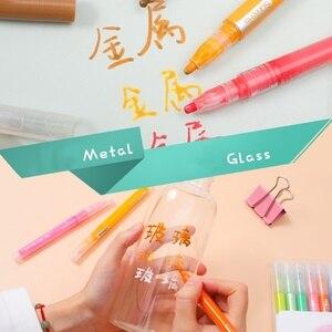 Image 5 - 3 set/lote 36 cores acrílico metálico marcador caneta glitter pintura desenho para o prego metal vidro caligrafia cerâmica lettering arte f117
