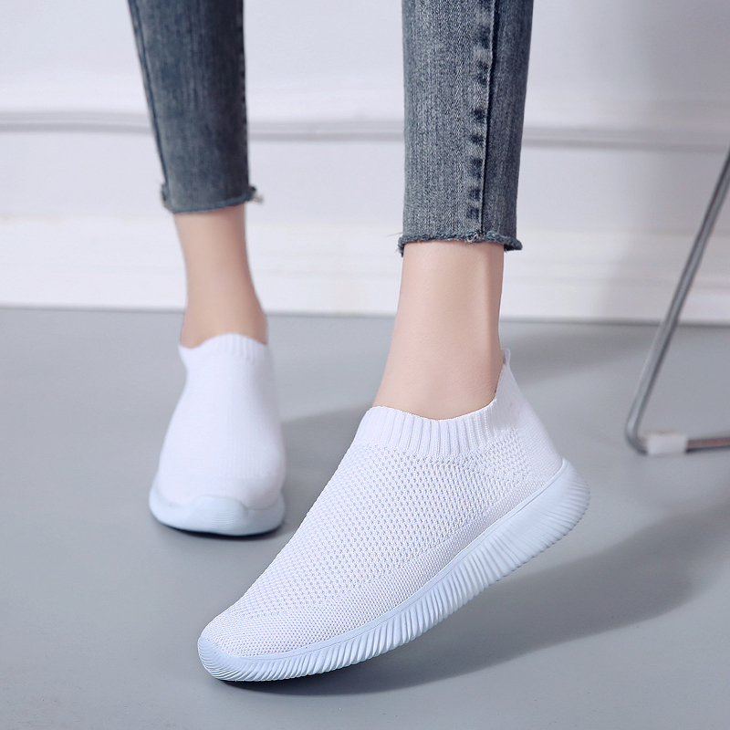Breathable Mesh Platform Sneakers Women Slip on Soft Ladies Casual Running Shoes Woman Knit Sock Shoes Flats  Size 43