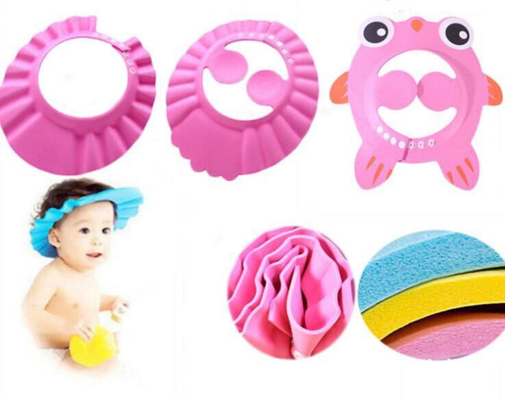 2pcs/lot Bath Wash Hair Cap Ear Protection Children Shampoo Cap Shower Caps Baby Kids Shower Shield Hat Safe Soft Hat Adjustable
