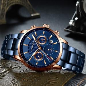 Image 4 - CRRJU رائجة البيع رجال الأعمال ساعة موضة الأزرق كرونوغراف الفولاذ المقاوم للصدأ ساعة اليد عادية مقاوم للماء ساعة relogio masculino