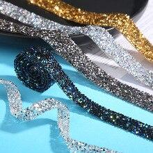 1 yarda 5/10/15/20/25mm cinta de cristal de estrás cinta de diamante de imitación cinta de acrílico para envolver flores cinta de costura cinta de fijación caliente