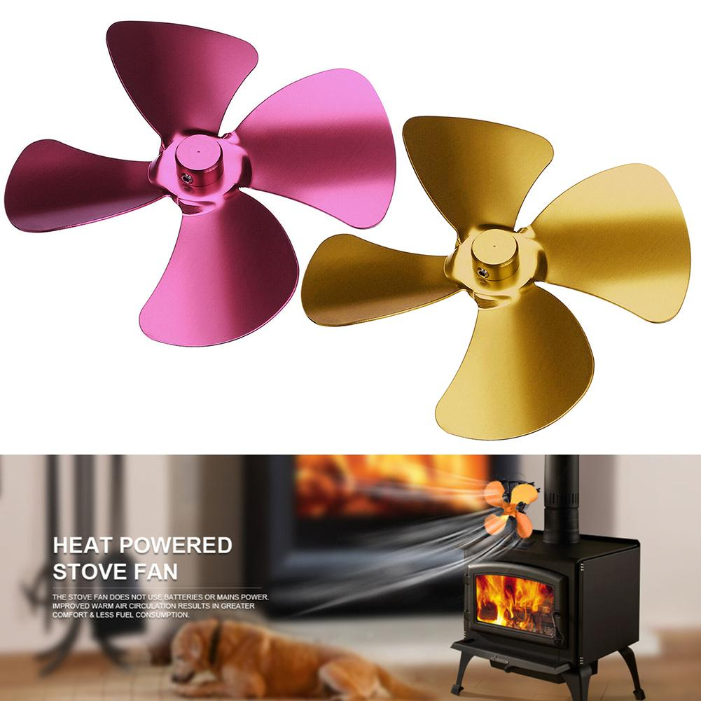 Aluminum Alloy Heat Powered Stove Fan 4 Blades Log Burning Fireplace Fan Aluminum Fan Blade 4 Leaves Fireplace Accessories