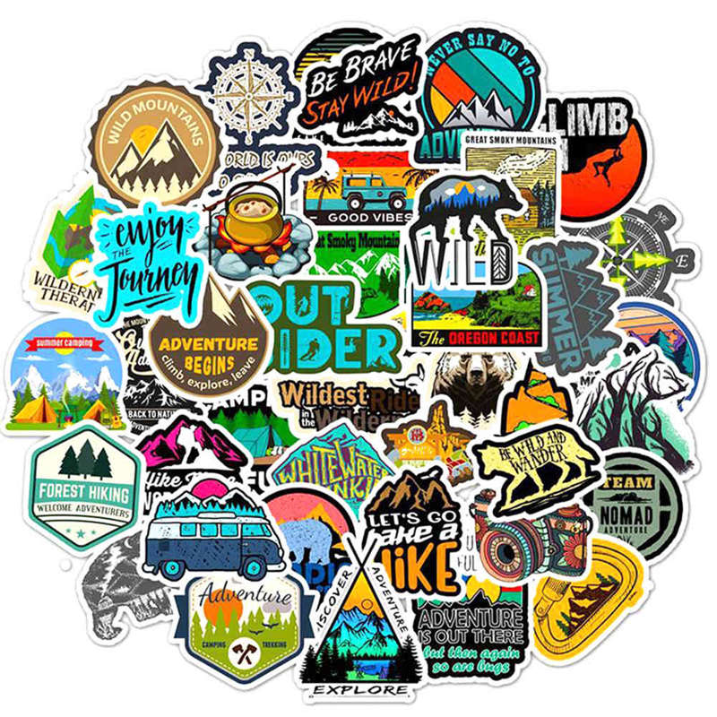 50X Camping Travel DIY Stickers Wilderness Adventure Landscape Sticker Decal Lot