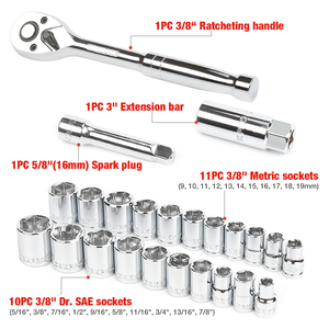 "Image 3 - WORKPRO 24PC Tool Set Torque Wrench Socket Set 3/8"" Ratchet Wrench Socket Spanner"