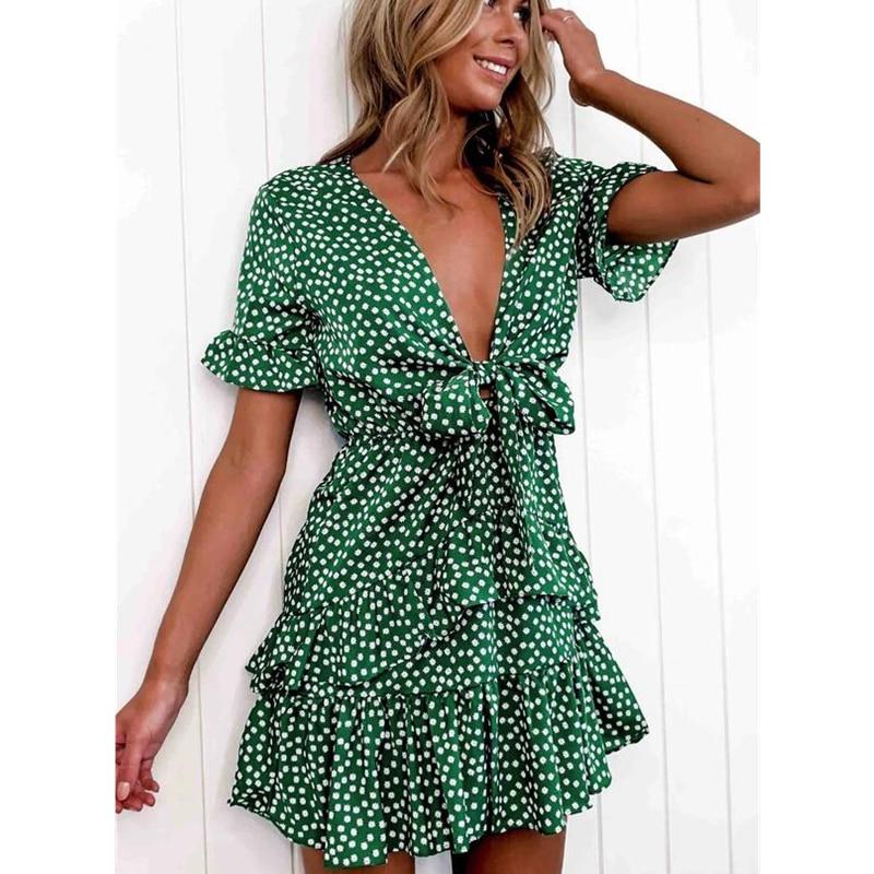 2020 Fashion Women Polka Dot Boho Ruffle Mini Dress Knot V-Neck Party Summer Beach Holiday Dresses Women Vestidos