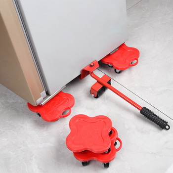 5Pcs Furniture Transport Roller Set Removal Lifting Moving Tool Heavy Object Mover Household Furniture Mobile Slides Trolley