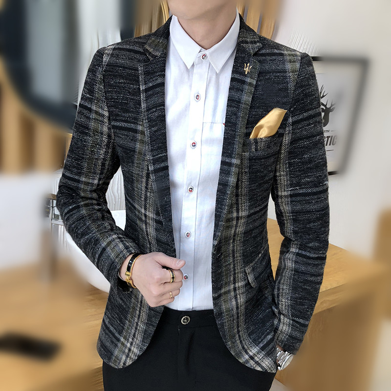 2019 New Clothing Jacket Men's Plaid Suit Jacket Men Blazer Fashion Slim Male Casual Blazers Men Plus Size M-5XL