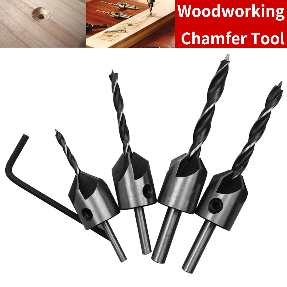 HSS 5 Flute Countersink Drill Bit Set Screw Woodworking Drill Press Set Reamer Screw Wood Tool 3mm 4mm 5mm 6mm 4pcs/set