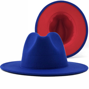 Simple Outer Blue Inner Red Wool Felt Jazz Fedora Hats with Thin Belt Buckle Men Women Wide Brim Panama Trilby Cap 56-58-60CM