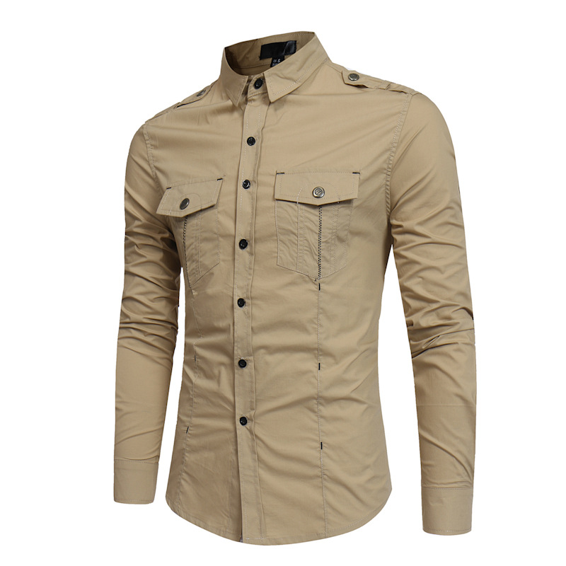New Men Cotton Classic Epaulettes Shirts Mens Casual Black Khaki Green Long-sleeve Overalls Shirt For Spring Summer US Size S-XL