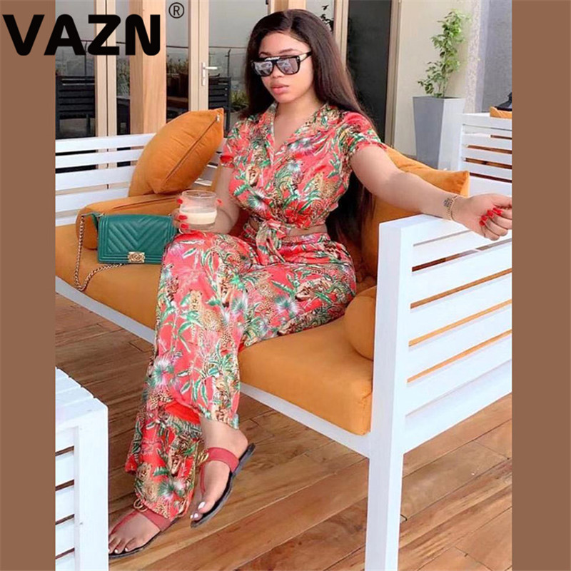 VAZN Chic 2020 Spring Sexy Lady Red Pring Long 2-piece Set Short Sleeve Button Fly Jknotted Tops Long Pants Set Lady Gauzy Sets