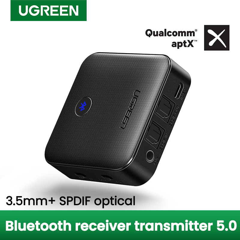 UGREEN Bluetooth 5 0 Transmitter Receiver APTX HD 2 in 1 Wireless Audio Adapter Digital Optical TOSLINK 3 5mm AUX Jack for TV PC