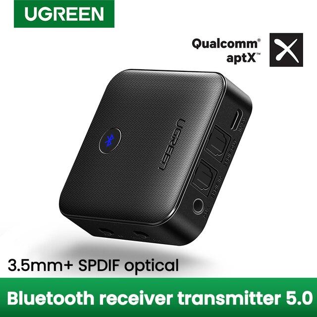 UGREEN Bluetooth 5.0 verici alıcı APTX HD 2 in 1 kablosuz ses adaptörü dijital optik TOSLINK için 3.5mm AUX jakı TV PC