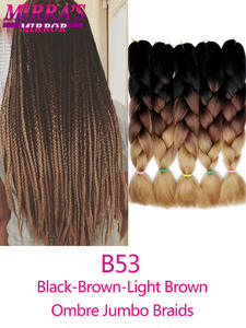 Jumbo Braids Hair Synthetic-Hair-Extensions Mirra's Mirror Ombre 5pcs for Brown 24-100g