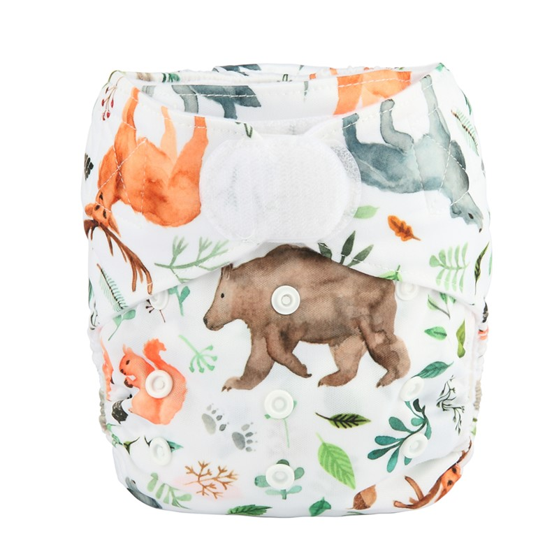[Sigzagor] 1 тканевый подгузник с карманами для детей, подгузник с застежкой-липучкой, с широкими полосками на талии - Цвет: DV24