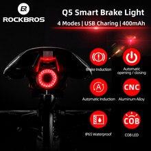 Rockbros luz de freio inteligente para bicicleta, sensor de freio automático, à prova d' água ipx6, recarregável, led, lanterna traseira para bicicleta, acessórios q5