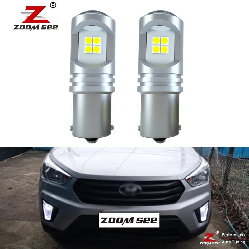 2 uds P21W BA15S 800Lm blanco Canbus No Error luz LED de conducción diurna DRL conducción bombilla para Hyundai Creta 2016, 2017, 2018, 2019