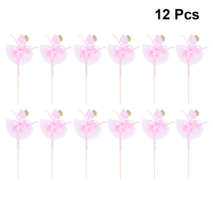 12pc Ballet Girl Cake Topper Ballet Cake Decorations Glitter Cake Picks Cupcake Toppers Party Supplies For Wedding Birthday Pink