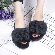 Women Flower House Slippers  Winter Indoor Woman Slip On Flats Shoes 2020 Fur Wholesale