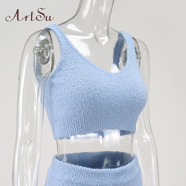 Artsu Winter Fur Two Piece Outfits Sexy Backless Crop Tops Women Outfits Matching Set Top and High Waist Pants Party Clubwear 6