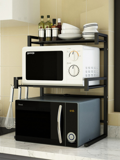 Adjustable and thickened microwave oven rack kitchen microwave rack rice cooker oven storage stand kitchen appliances storage