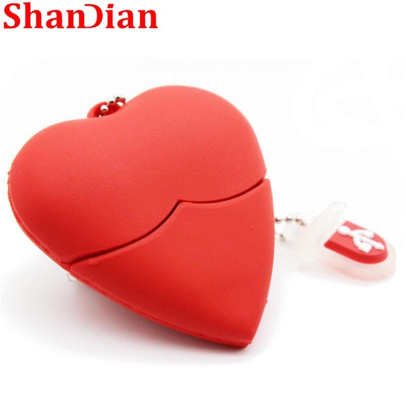 SHANDIAN Cute Heart-shaped Usb Flash Drive Pen Drive 4G/16G/32G/64G Beauty Memory Stick Lovely Gift For Girl Free Shipping Gift