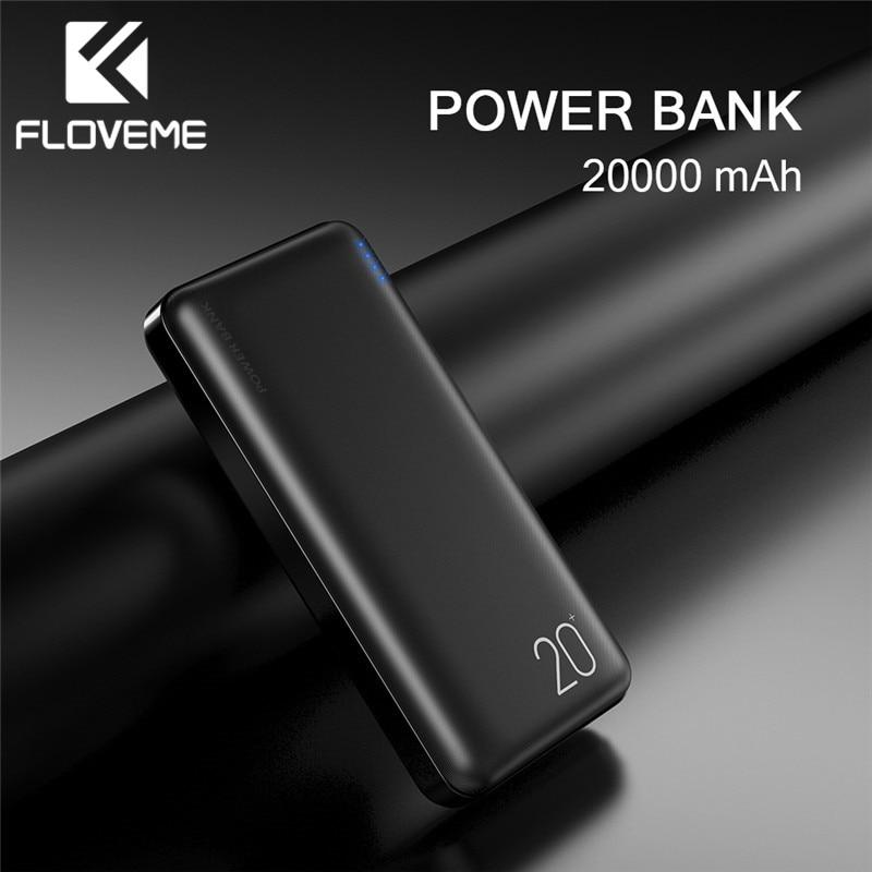 FLOVEME 20000mAh Power Bank Powerbank For Xiaomi External Battery Portable Charger Double USB Mi Poverbank Bateria Externa Movil Power Bank     - title=