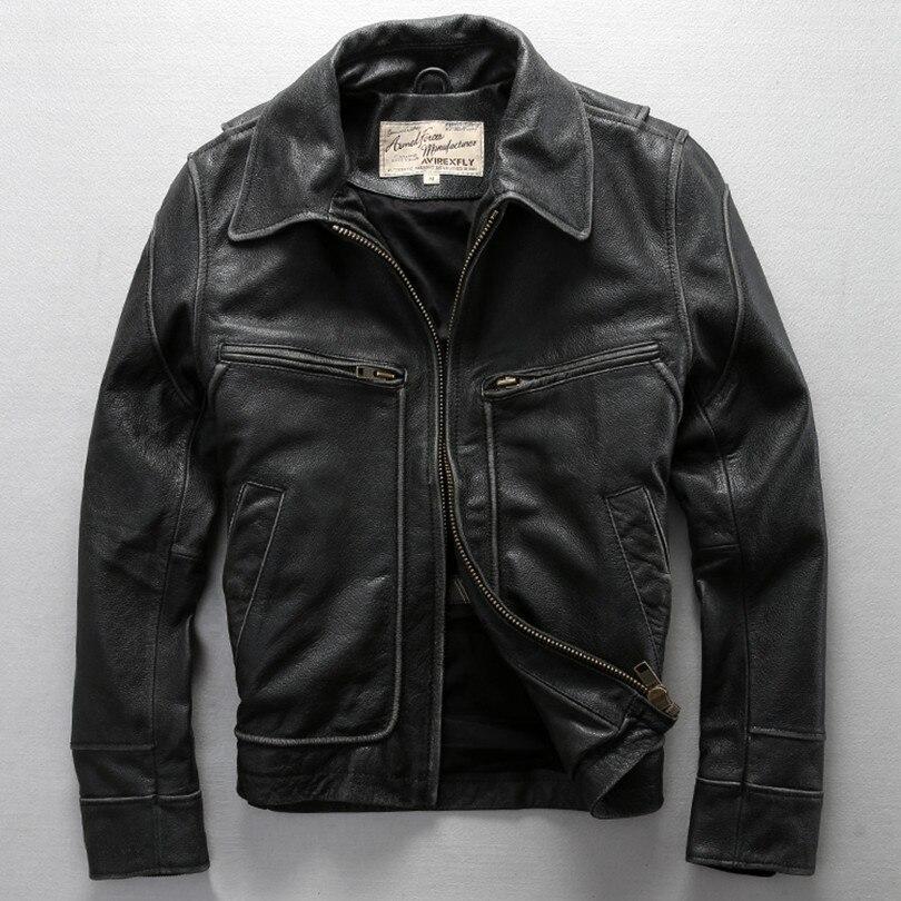 2020 Real Leather Jacket Men David Backham Style Turn Down Collar Skin Wind Jacket Men's Leather Coat Motorcycle Jackets