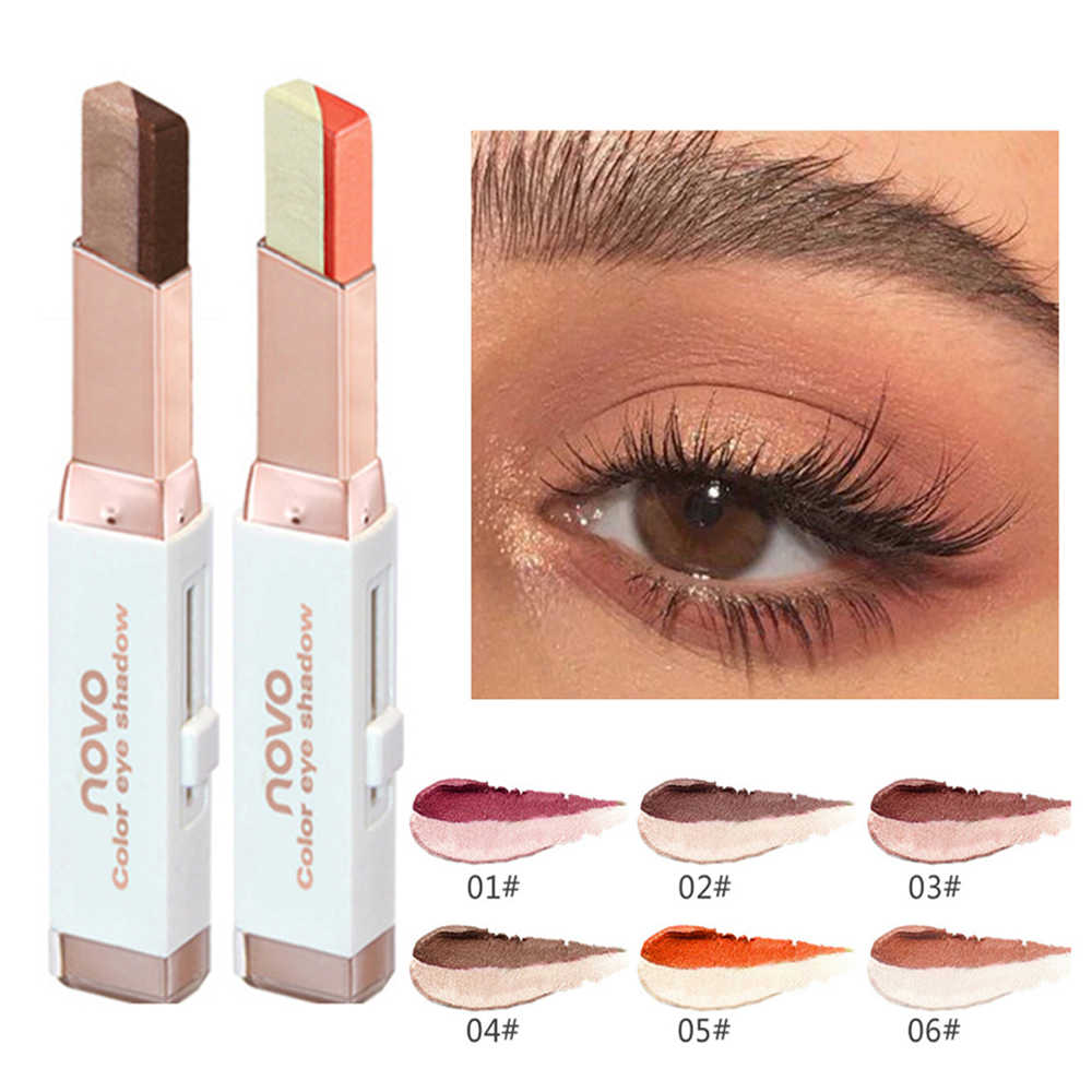 NOVO Double Color Eyeshadow Shimmer Matte Earth Color Brightening Eye Shadow  Cream Pen Stereo Gradient Stick Makeup Cosmetic|Eye Shadow| - AliExpress