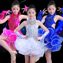 Professional Design Girls Latin Dance Dresses Performance Stage Outfits Tassel Latin Dress Dance Costumes for Kids Dance Wear