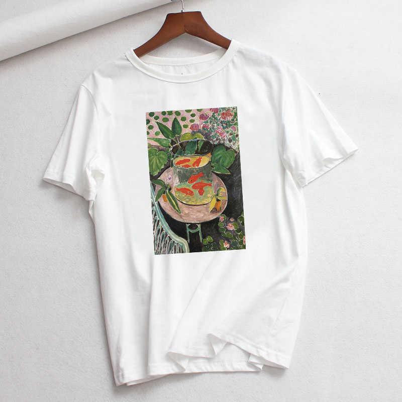 Geniş eğlence moda Martins sanat baskı karikatür kısa yuvarlak T-shirt kadın befree vintage camiseta mujer kadın boyama