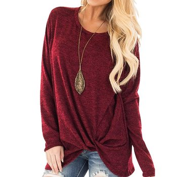 2020 New Spring Women's Long Sleeve Crewneck Pullovers Solid Color Casual Tunics Tops Blouses Twisted for Winter 6