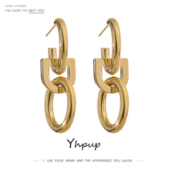 Yhpup 2020 Brand Round Metal Drop Dangle Earrings Fashion Copper 14 K Texture Geometric Earrings Party kolczyki Accessories New