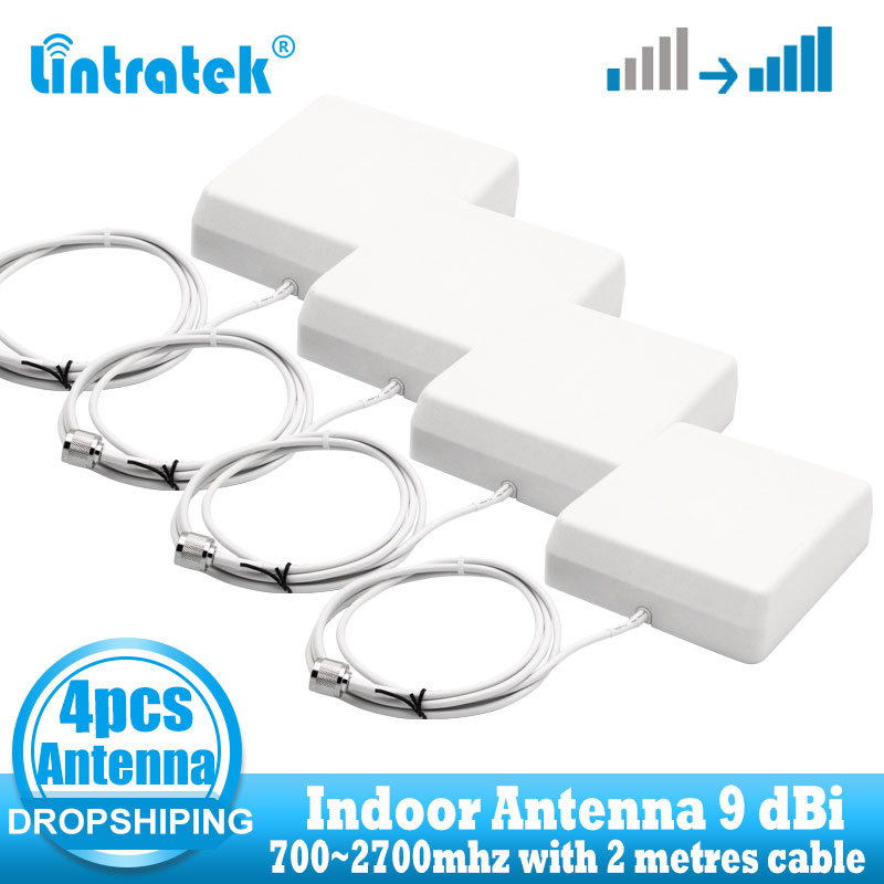 Wholesale 4 PCS Indoor Antennas 9dbi 700-2700Mhz 2G 3G 4G Indoor Panel Antenna GSM CDMA WCDMA LTE UMTS Repeater Antenna 4G LTE