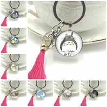 2019 New Ghibli Totoro Keychain Glass Cabochon Art Handmade Dome Gift Ornament