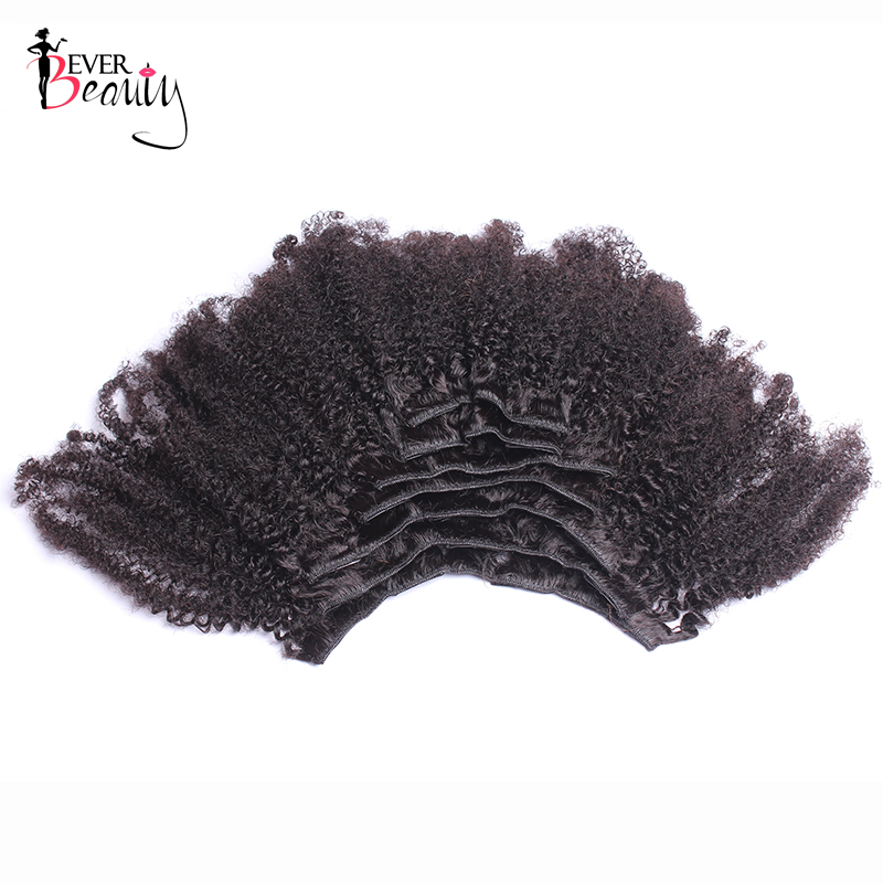 4B 4C Afro Kinky Curly Clip In Human Hair Extensions Brazilian Remy Hair 100% Human Natural Clip Ins Hair Bundle Ever Beauty - 4