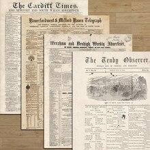 Diário de lixo tamanho grande retro inglês jornal adesivos diy scrapbooking viagens diário antiquado papel decorativo