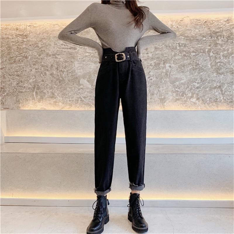 JUJULAND Vintage High Waist Jeans Woman Skinny Black  Mom Boyfriend Jeans For Women Denim Pants Female Trousers Streetwear 9752