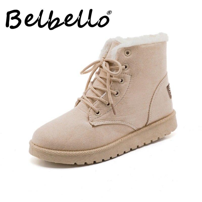 Belbello nouveau Martin bottes confortable chaud hiver chaussures de sortie antidérapant mode femmes chaussures