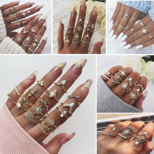 New Design Vintage Gold Crown Star Moon Rings Set For Women Bohemian Opal Crystal Charm Joint Ring Party Wedding Jewelry Gift 17km vintage gold crystal rings set moon star beads ring for women metal charm ring bohemian wedding fashion jewelry party gifts