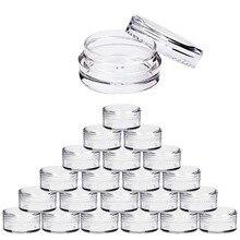 100 adet 2g/3g/5g/10g/15g/20g boş plastik kozmetik makyaj kavanoz tencere şeffaf örnek şişeleri göz farı krem dudak balsam kabı