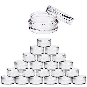 100pcs 2g/3g/5g/10g/15g/20g Empty Plastic Cosmetic Makeup Jar Pots Transparent Sample Bottles Eyeshadow Cream Lip Balm Container